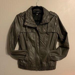 Kismet high neck grey faux leather jacket